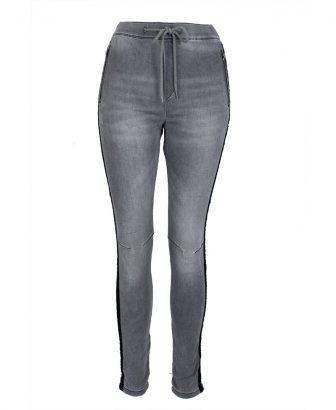 Jogger jeans grijs met glitterbiesje 1