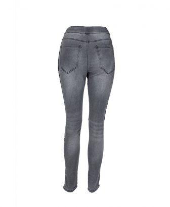 Jogger jeans grijs met glitterbiesje 2