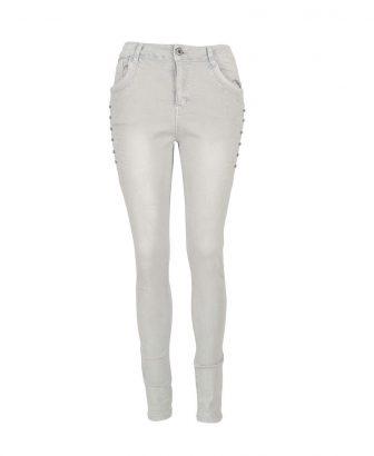Baggy jeans zandkleurig met strass 1