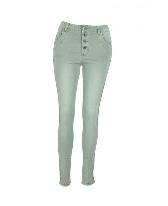 Mintgroene jeans met zachtgouden glitterbiesje 1