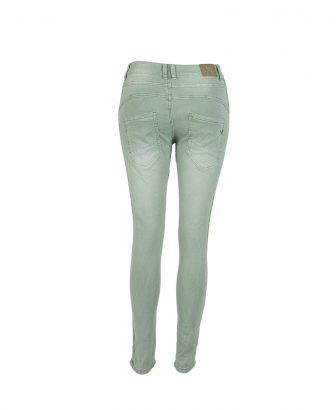 Mintgroene jeans met zachtgouden glitterbiesje 2