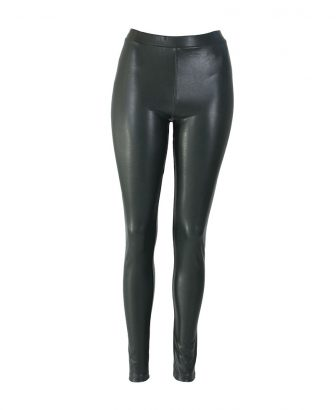 Faux leather legging groen 1
