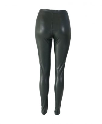 Faux leather legging groen 2